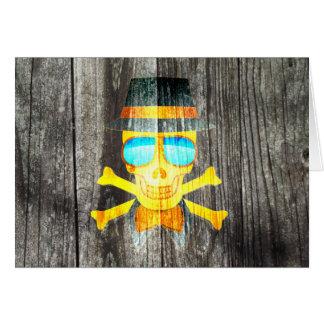 Efeito de fundo cinzento de madeira do chapéu cartão comemorativo
