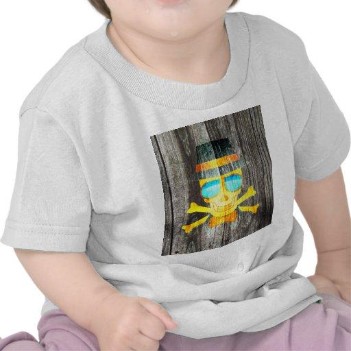 Efeito de fundo cinzento de madeira do chapéu lega t-shirts