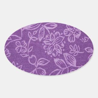 Efeito floral roxo de pano adesivos em formato oval