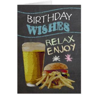 Efeito na moda do conselho de giz, com cerveja, cartão comemorativo