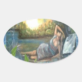 égua do sul do ragazza do originale do dipinto adesivo oval