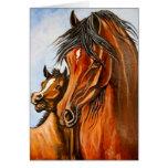 Égua e potro árabes cartoes