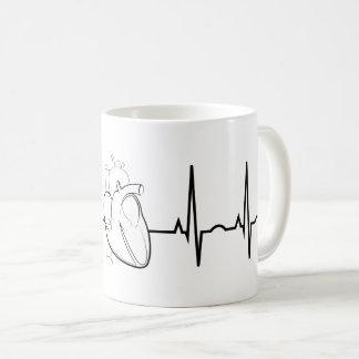 EKG com a caneca de café realística do coração