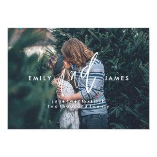 Ela e ele economias de   o cartão com fotos da convite 12.7 x 17.78cm