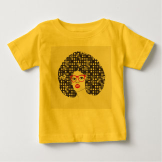 ELE menina com os lábios e o afro vermelhos Camiseta Para Bebê