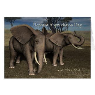 Elefante apreciação dia cartão o 22 de setembro