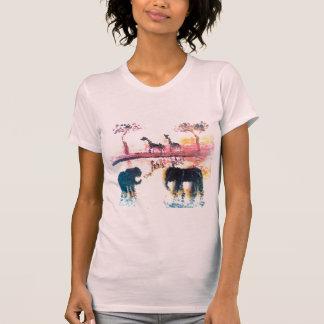 Elefante, arte do por do sol do safari do girafa camiseta
