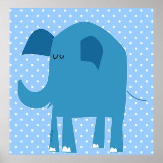 Elefante azul bonito poster