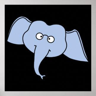 Elefante azul com vidros Desenhos animados Impressão