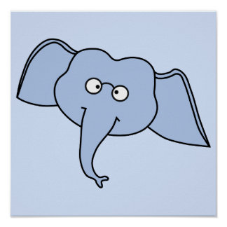 Elefante azul com vidros Desenhos animados Posters