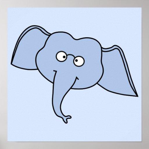 Elefante azul com vidros. Desenhos animados Posters