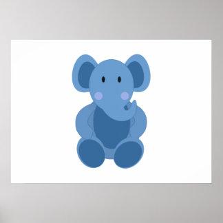 Elefante azul dos desenhos animados posters