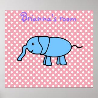 Elefante azul no poster cor-de-rosa dos polkadots