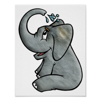 Elefante Bathtime Pôster