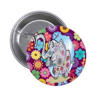 Elefante bonito do Hippie com flores coloridas Botons