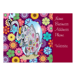 Elefante bonito do Hippie com flores coloridas Cartão De Visita Grande