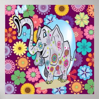 Elefante bonito do Hippie com flores coloridas Poster