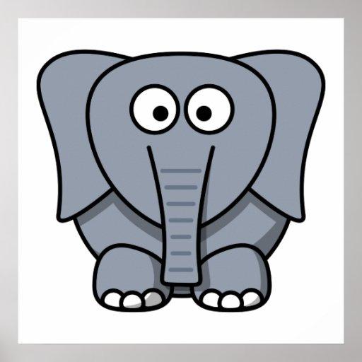 Elefante bonito dos desenhos animados pôsteres