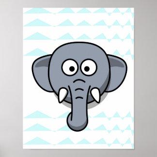 elefante bonito no bebê do berçário do fundo da poster