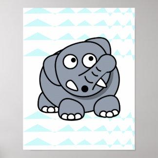 elefante bonito no bebê do berçário do fundo da pôster