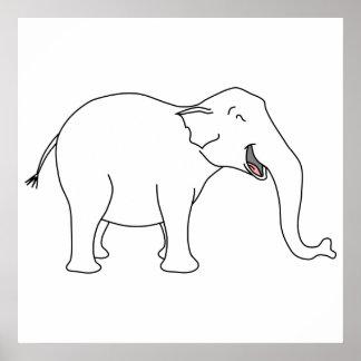 Elefante branco de riso poster