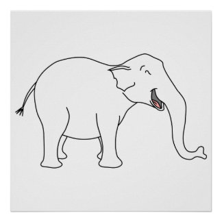 Elefante branco de riso posters