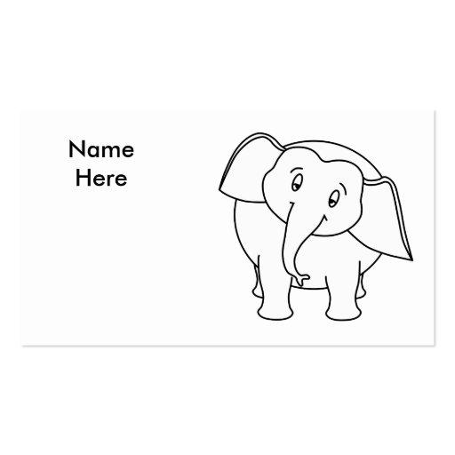 Elefante branco sonolento. Desenhos animados Modelos Cartão De Visita