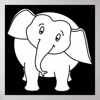 Elefante branco sonolento Desenhos animados Posters