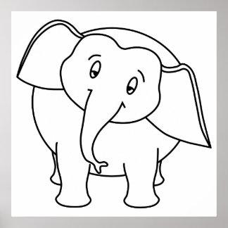 Elefante branco sonolento. Desenhos animados Pôsteres