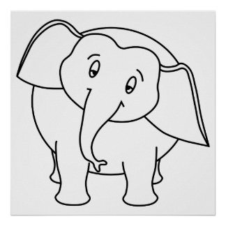 Elefante branco sonolento. Desenhos animados Poster