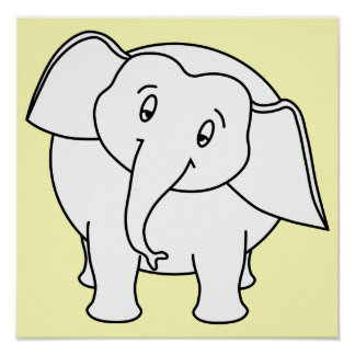 Elefante branco sonolento Desenhos animados Poster