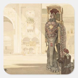 """Elefante cerimonial, """"do livro da selva"""" por Rud Adesivos Quadrados"""