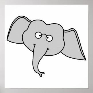 Elefante cinzento com vidros Desenhos animados Poster