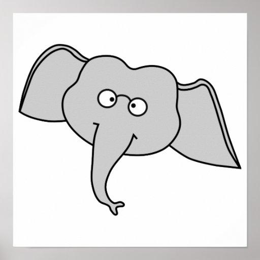 Elefante cinzento com vidros. Desenhos animados Poster