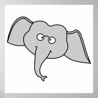 Elefante cinzento com vidros Desenhos animados Posteres