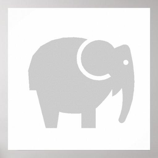 Elefante cinzento dos desenhos animados pôsteres