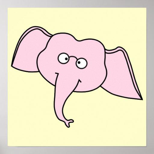 Elefante cor-de-rosa com vidros. Desenhos animados Posters