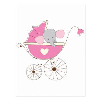 Elefante cor-de-rosa do bebé infantil cartão postal