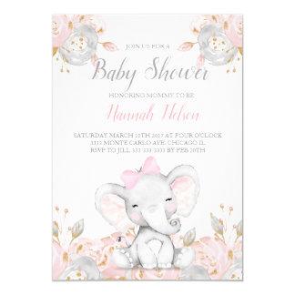Elefante cor-de-rosa do convite do chá de fraldas