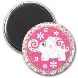 Elefante cor-de-rosa e verde extravagante e ímã fl ima de geladeira