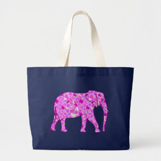 Elefante da flor - orquídea e magenta bolsa tote grande