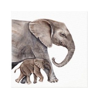 Elefante da mãe com canvas do elefante do bebê