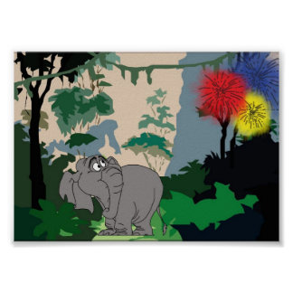 Elefante da selva impressão