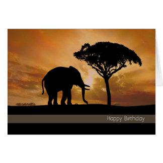 Elefante da silhueta com o cartão de aniversário