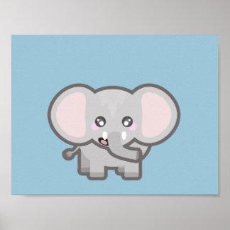 Elefante de Kawaii Poster