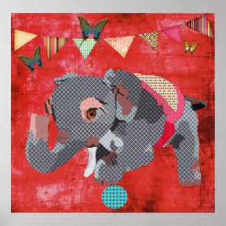 Elefante de Lil & poster afortunados do vermelho d