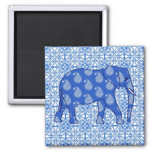 Elefante de Paisley - azuis cobaltos e branco Imã