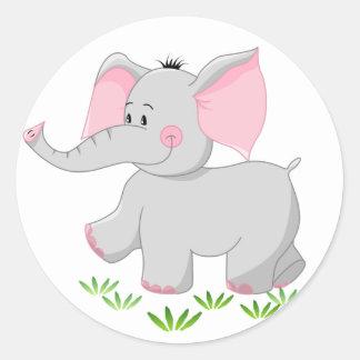 Elefante de passeio para crianças adesivo em formato redondo