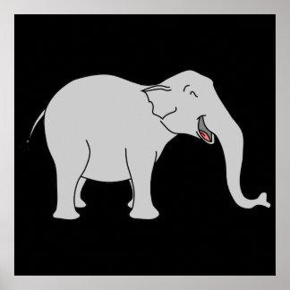 Elefante de riso cinzento Desenhos animados Posters
