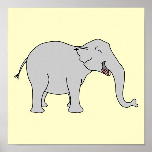 Elefante de riso cinzento. Desenhos animados Poster